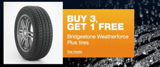Hot Sears Buy 3 Get 1 Free Bridgestone Tires 50 Off 50