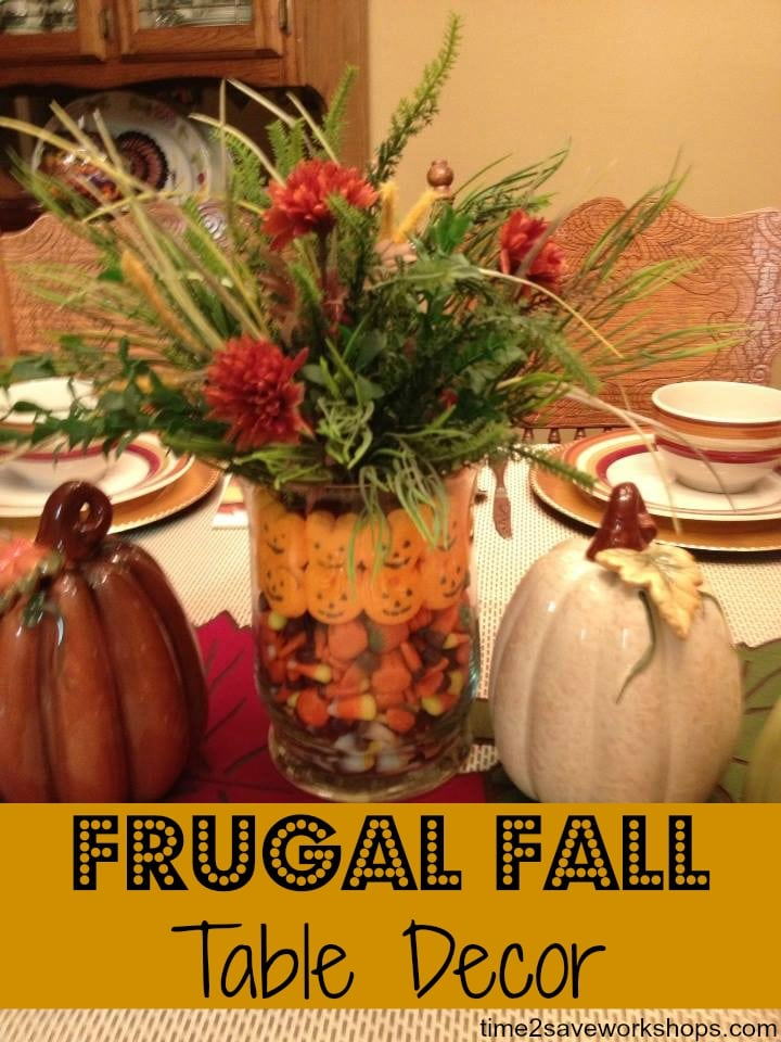 frugal fall table decor on time2saveworkshops.com