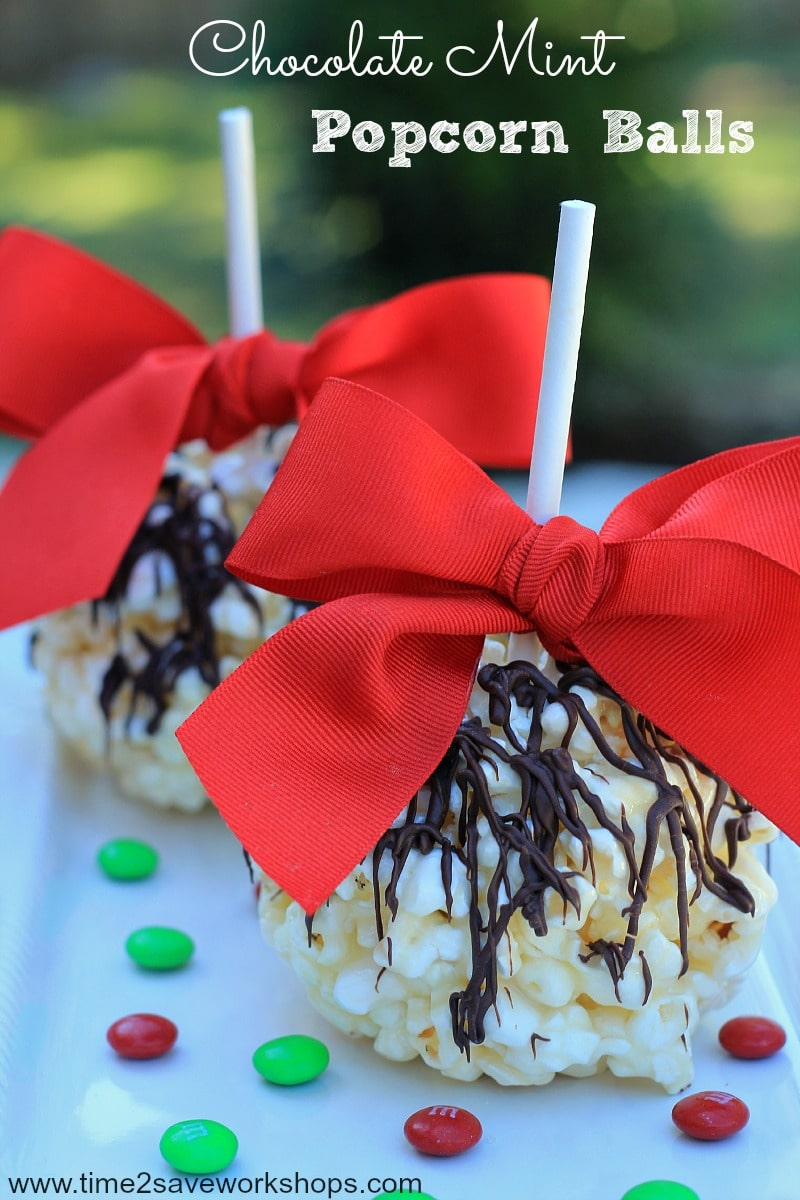 Chocolate Mint Popcorn Balls on time2saveworkshops.com