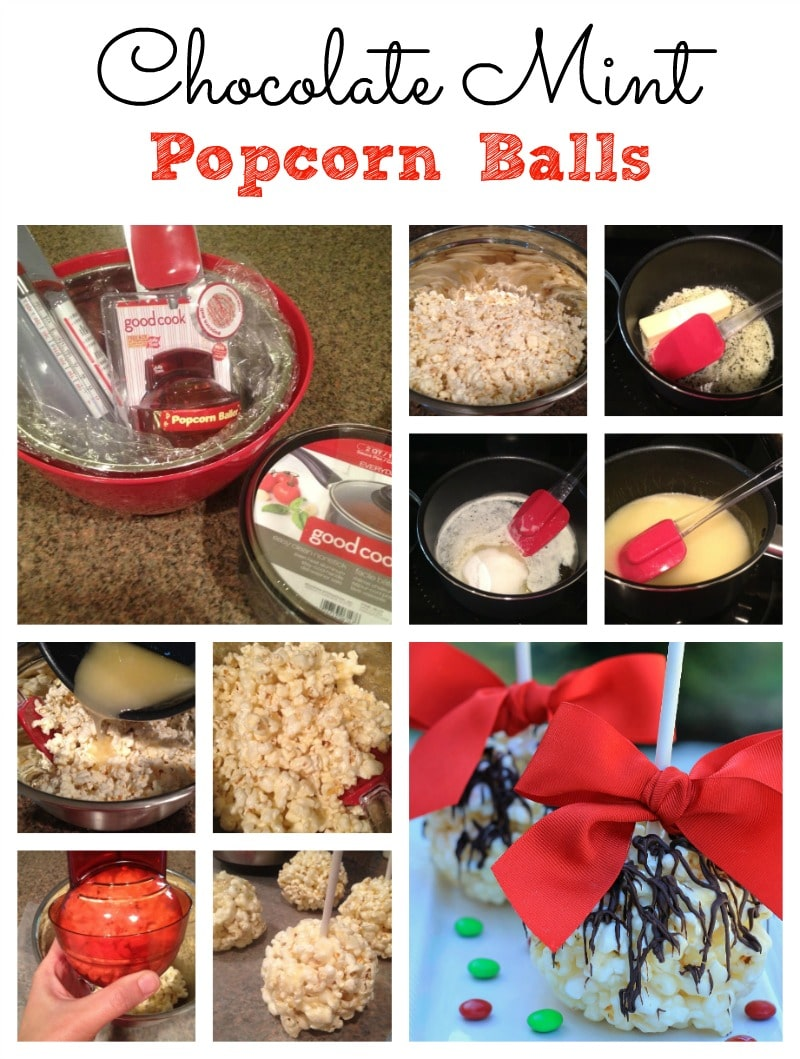 chocolate mint popcorn balls collage