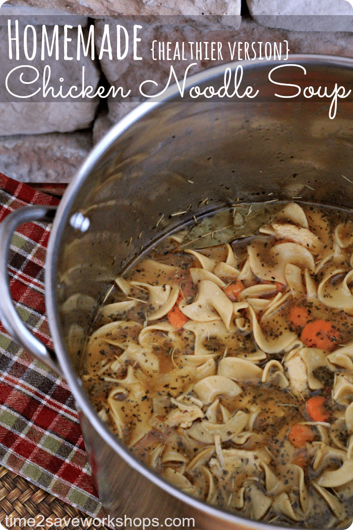 Homemade Chicken Noodle Soup Recipe on time2saveworkshops.com