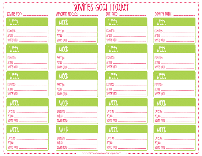 how to save money savings goal tracker free printable kasey trenum