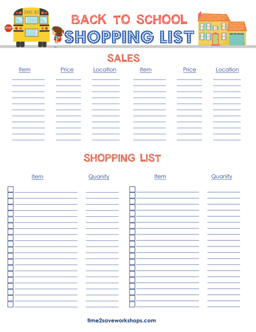 Free Back to School Printable Shopping List