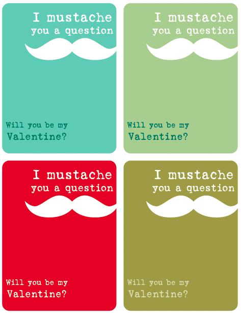 Free Printable Valentine Cards Mustache Valentines Kasey Trenum – Valentine Card Templates Free