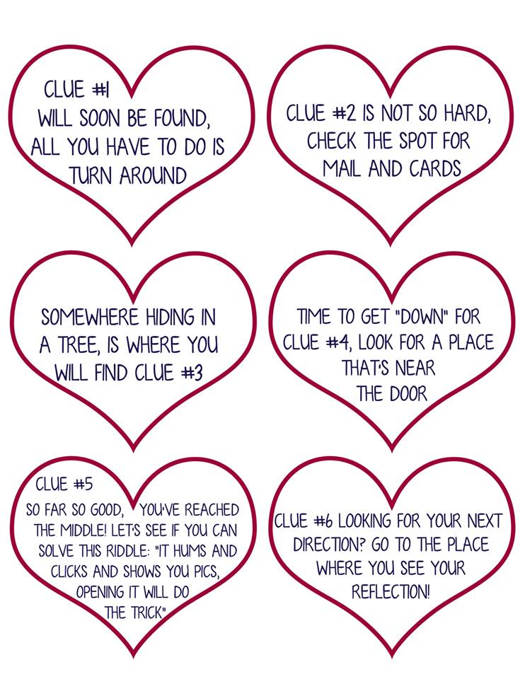 valentine scavenger hunt for kids (free printable clues!) - kasey, Ideas