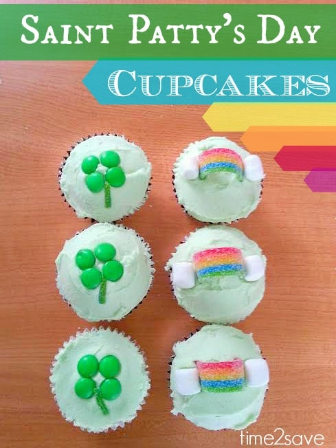 St. Patrick's Day Cupcakes (Rainbows & Shamrocks!)