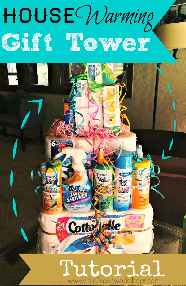 A Gift Tower of Cleaning Supplies and More