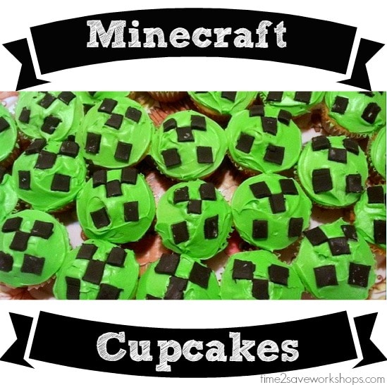 Easy Minecraft Cake & Creeper Cupcakes