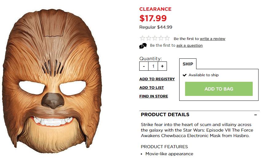 chewbacca mask kohl's