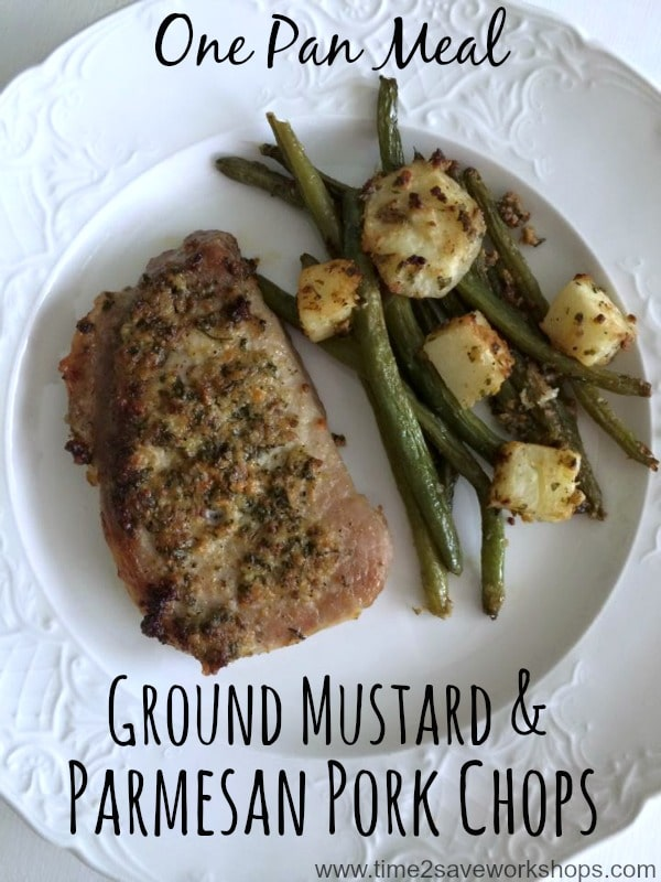Ground Mustard & Parmesan Pork Chops One Pan Meal