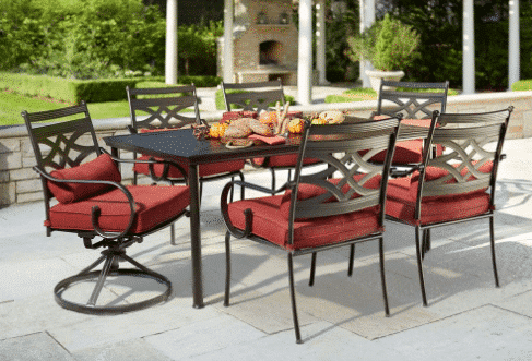 Beau Hampton Bay Middletown 7 Piece Patio Dining Set With Chili Cushions U2013  $299.50 (Was $599