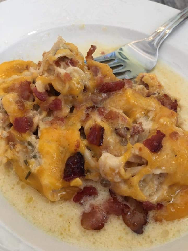 Creamy Slow Cooker Chicken With Bacon Amp Cheese Low Carb Amp Keto Kasey Trenum