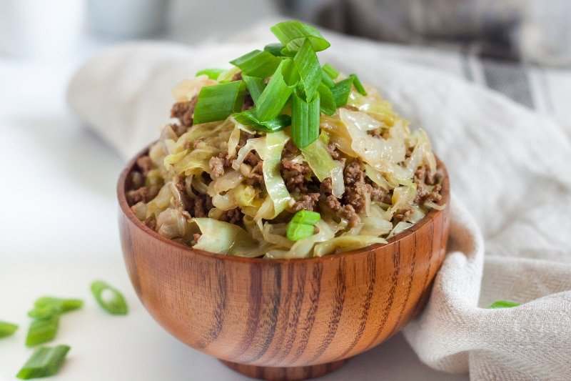 A Picture of Keto Egg Roll in a wood bowl