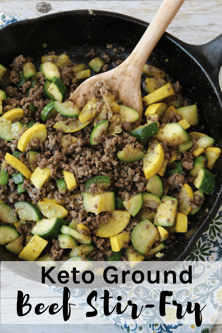 Keto Ground Beef Stir-Fry is so easy to make and it tastes delicious! Pair with a garden salad for a complete meal that takes minutes to get on the table.