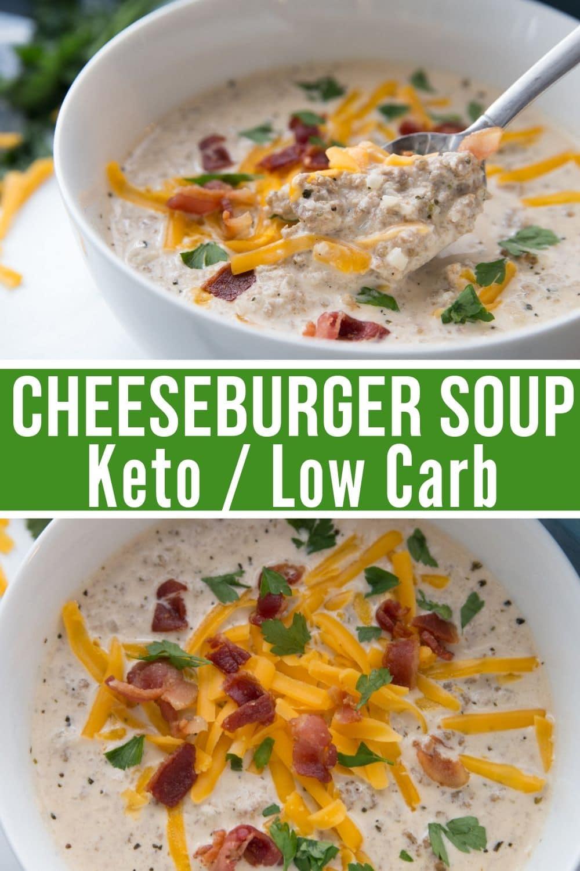 keto cheeseburger soup recipe collage