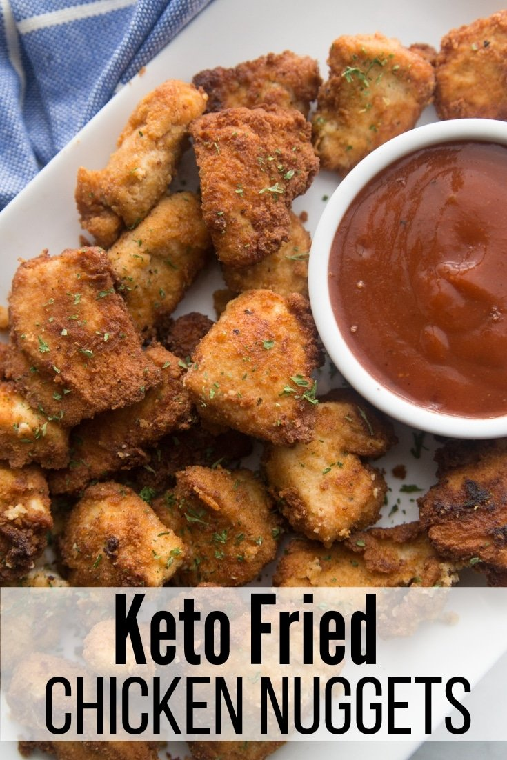 plate of keto fried chicken nuggets and low carb bbq dipping sauce