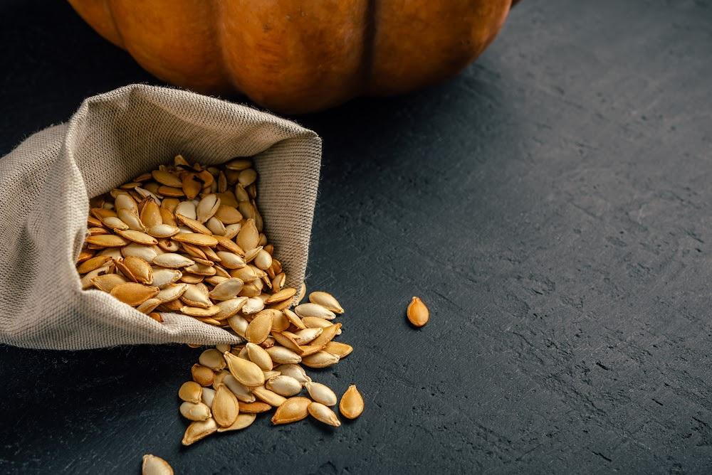 roasted pumpkin seeds in burlap bag with pumpkin behind it