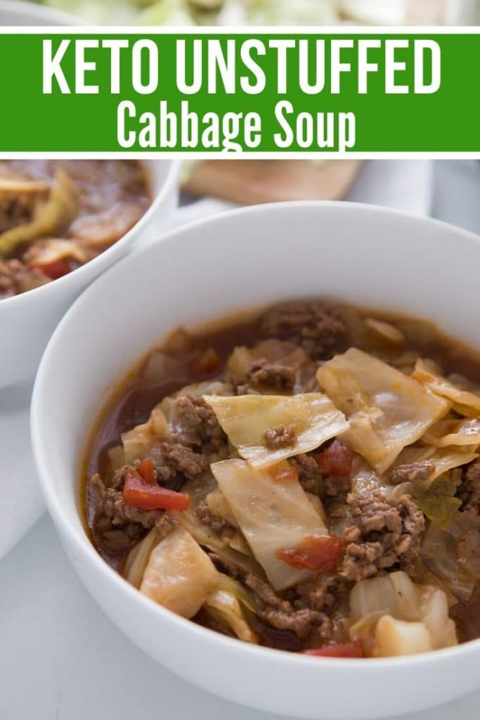 keto unstuffed cabbage soup in a white bowl