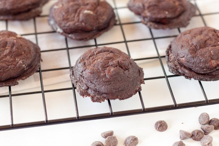 double chocolate low carb cookies on a baking rack