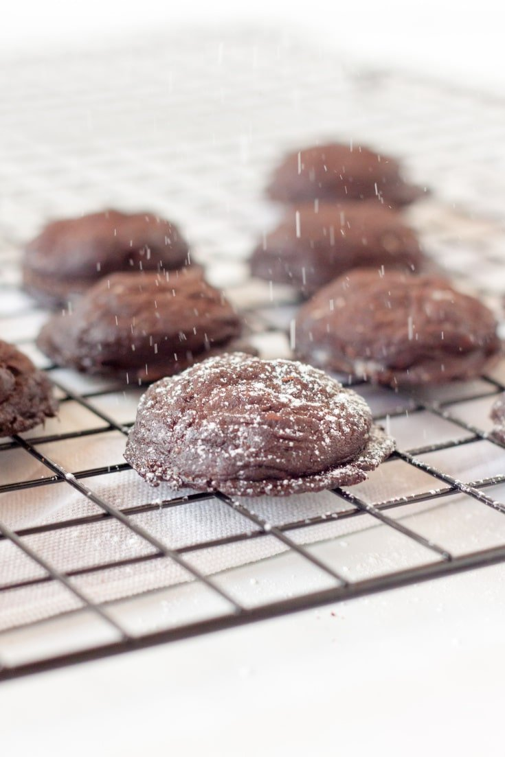 double chocolate chip sugar-free cookies on a baking rack