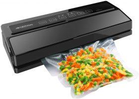 Geryon Vacuum Sealer with a bag of veggies