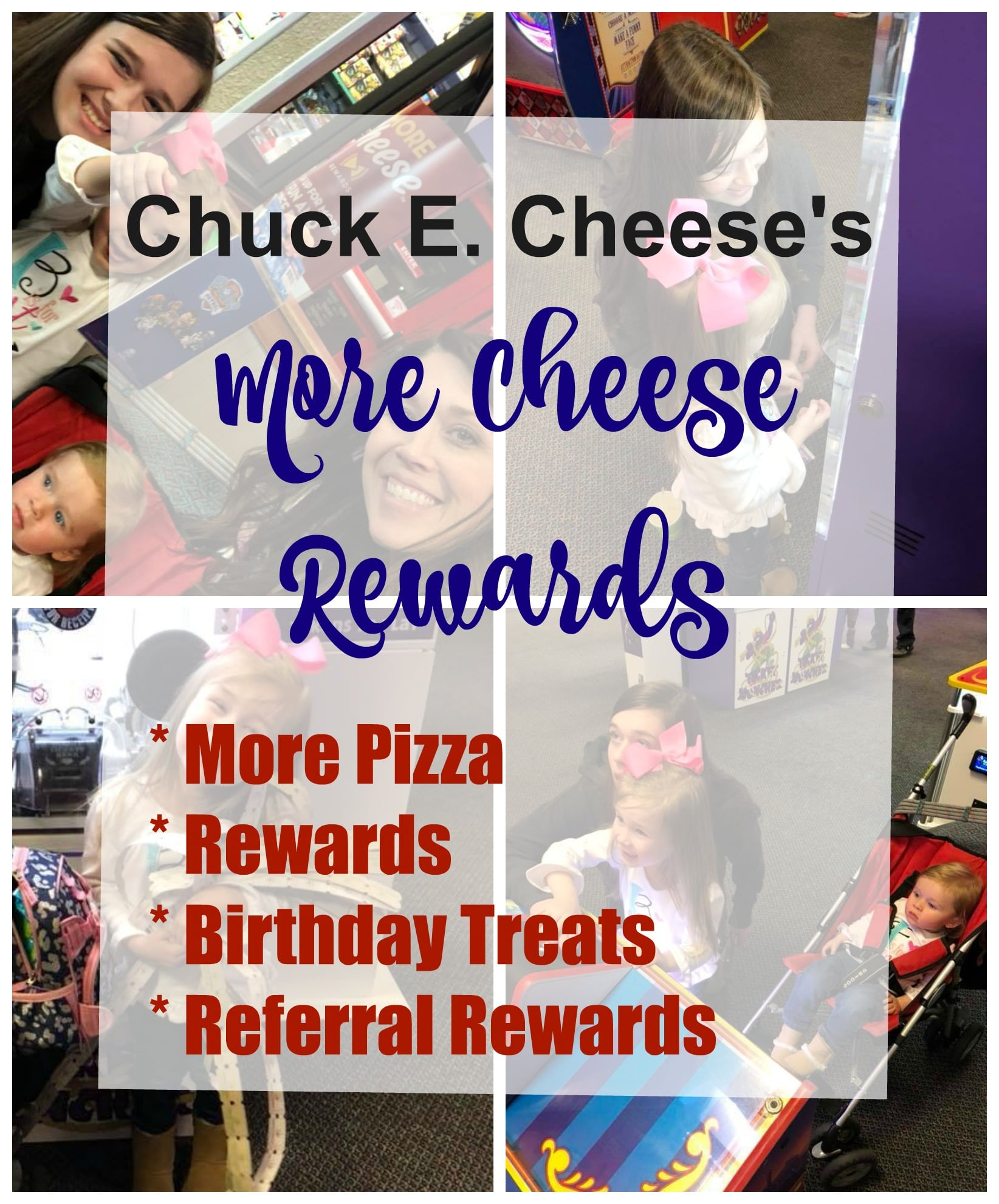Chuck E Cheese's More Cheese Rewards Collage