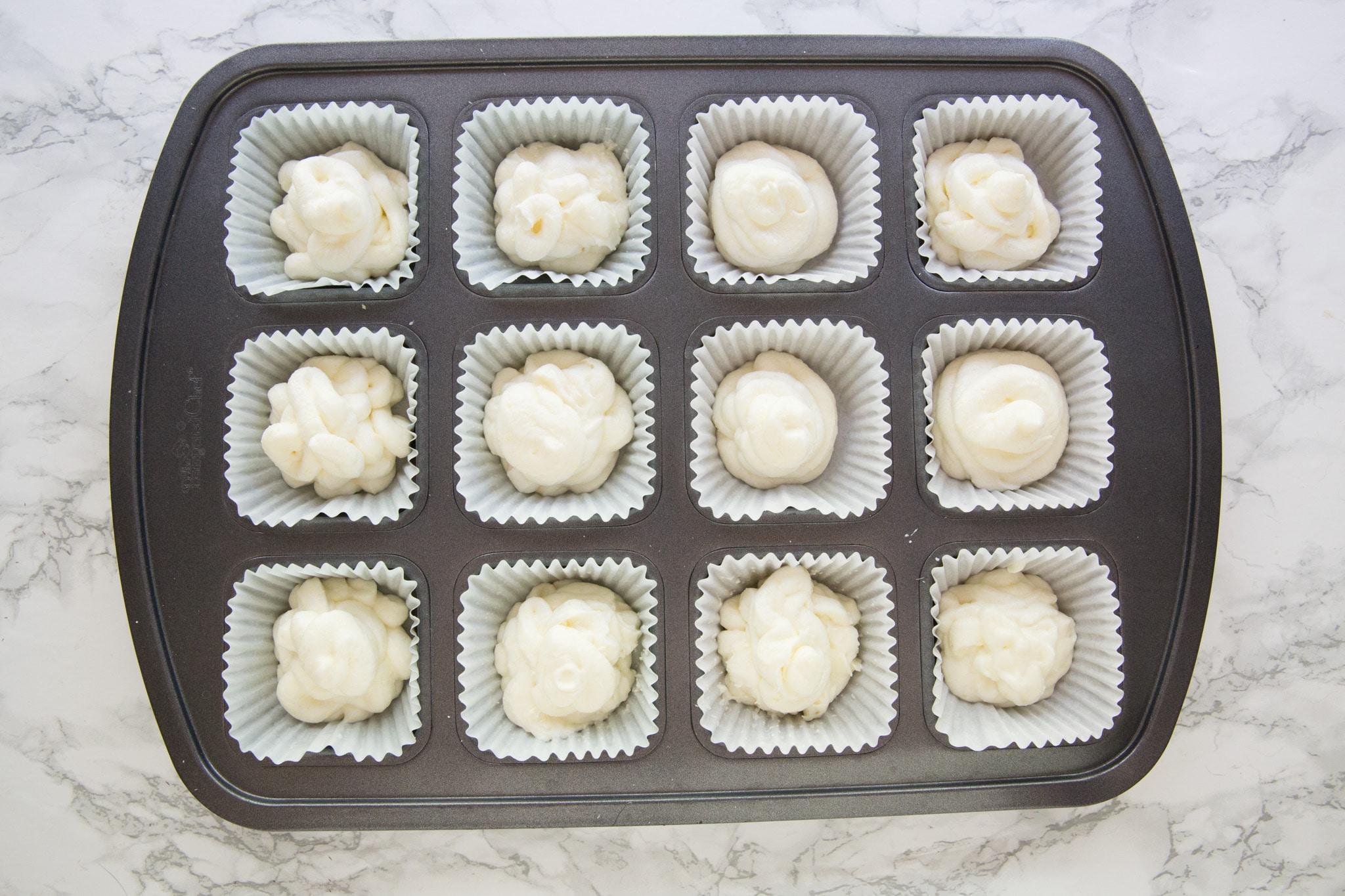Lemon keto bombs ingredients in muffin tin