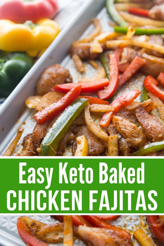 easy keto baked chicken fajitas on a sheet pan