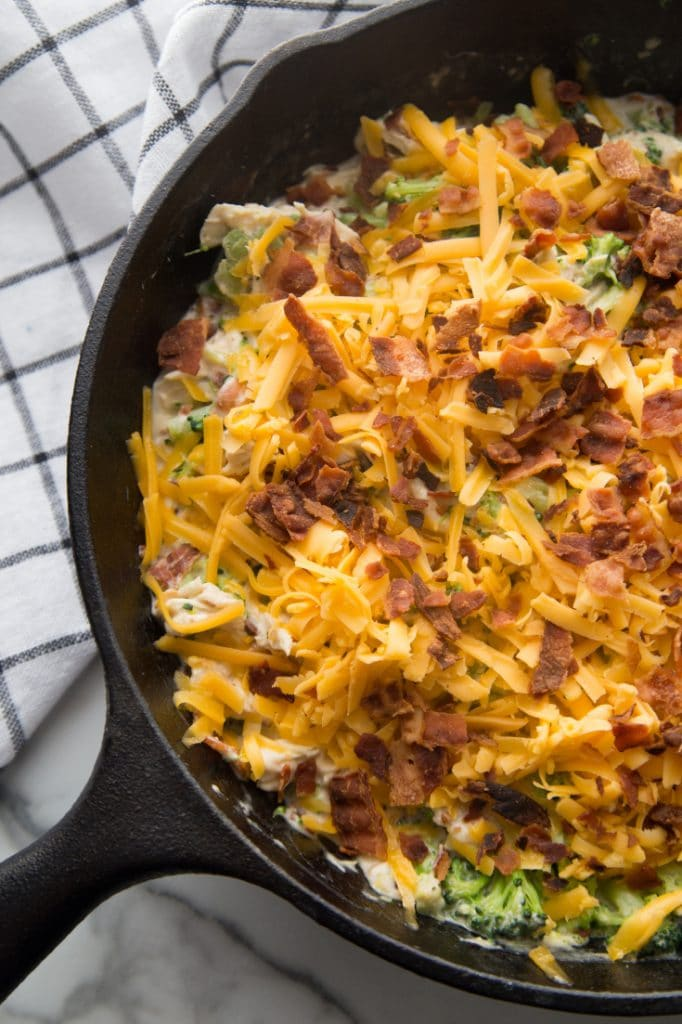 Baked chicken bacon ranch casserole in a skillet