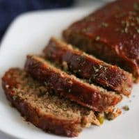 meatloaf sliced on a white plate