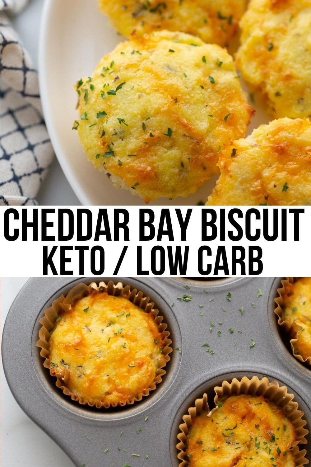 cheddar bay biscuits and garlic and parsley on a muffin tin and plate