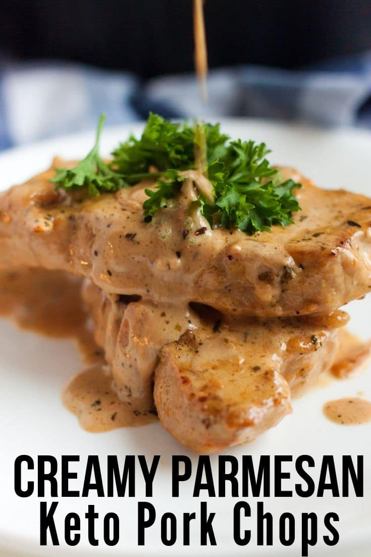 pork chops plated with sauce pouring on top