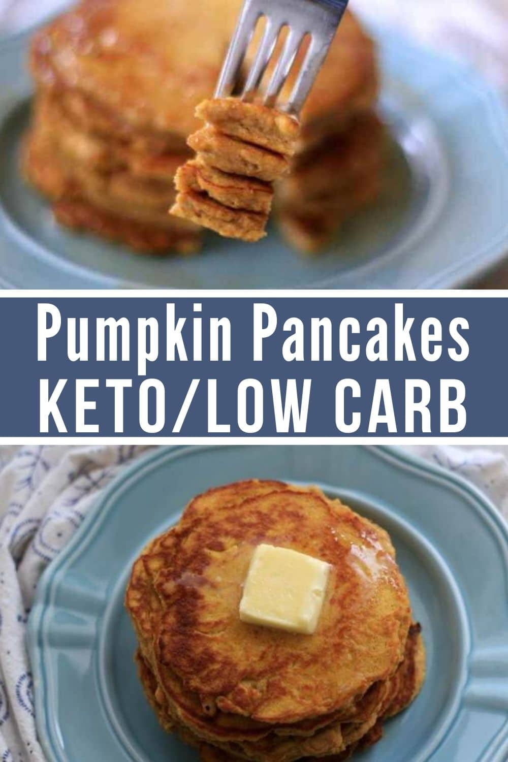 ketogenic pumpkin pancake collage with pancakes plated in one pic and a bite on a fork
