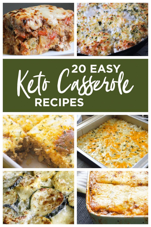 collage of easy keto casserole recipes