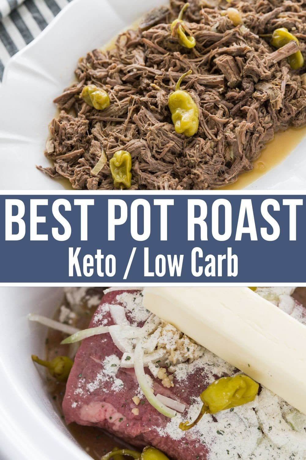 Mississippi pot roast keto recipe collage plated and in slow cooker