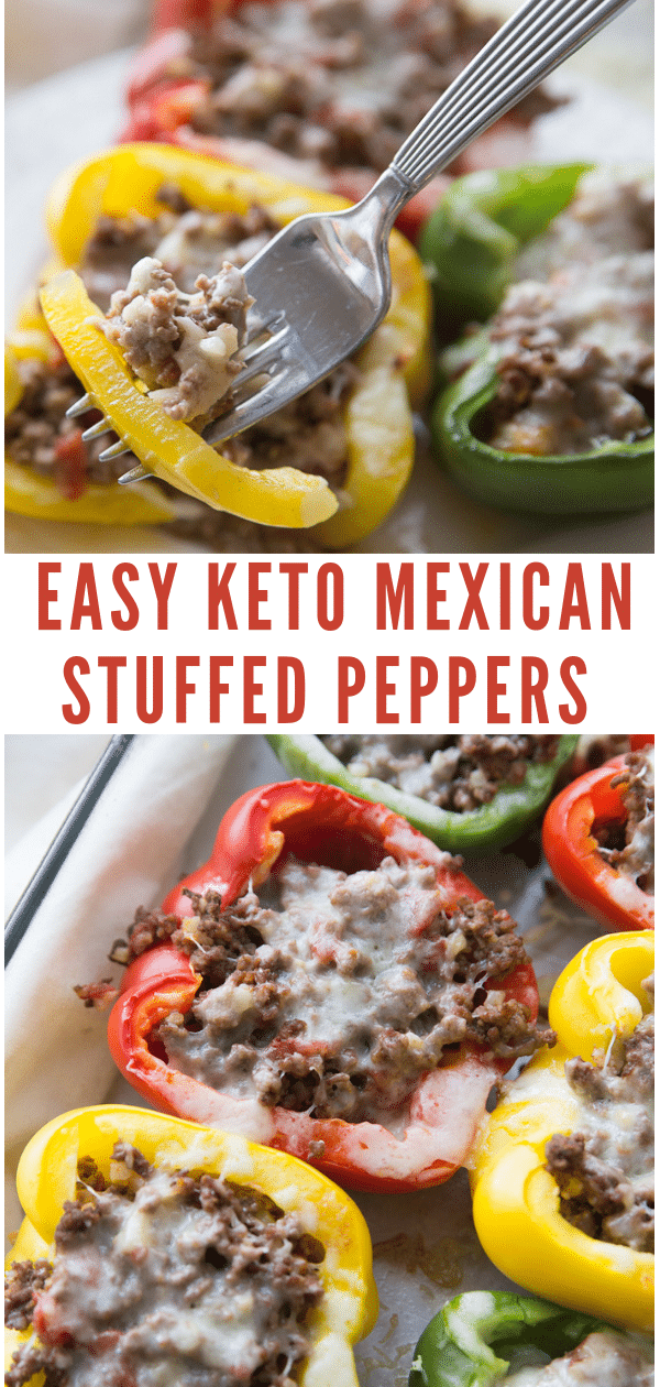This Keto Mexican Stuffed Peppers recipe is sure to become a family favorite in your home! It's simple, delicious, and keto-friendly. #keto #lowcarb
