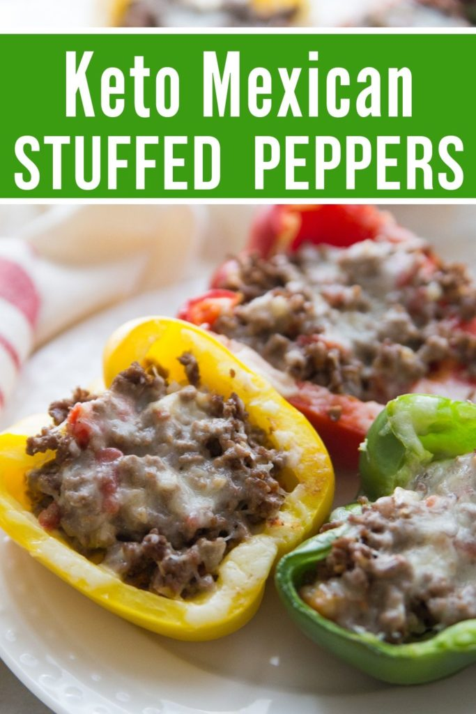 keto Mexican stuffed peppers plated on a white plate