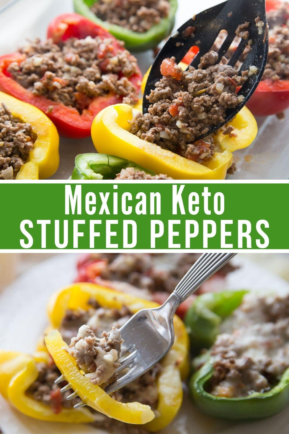 collage of stuffed peppers keto recipe