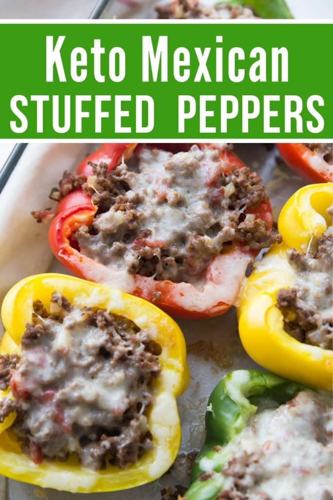 Mexican Keto Stuffed Peppers in a baking dish