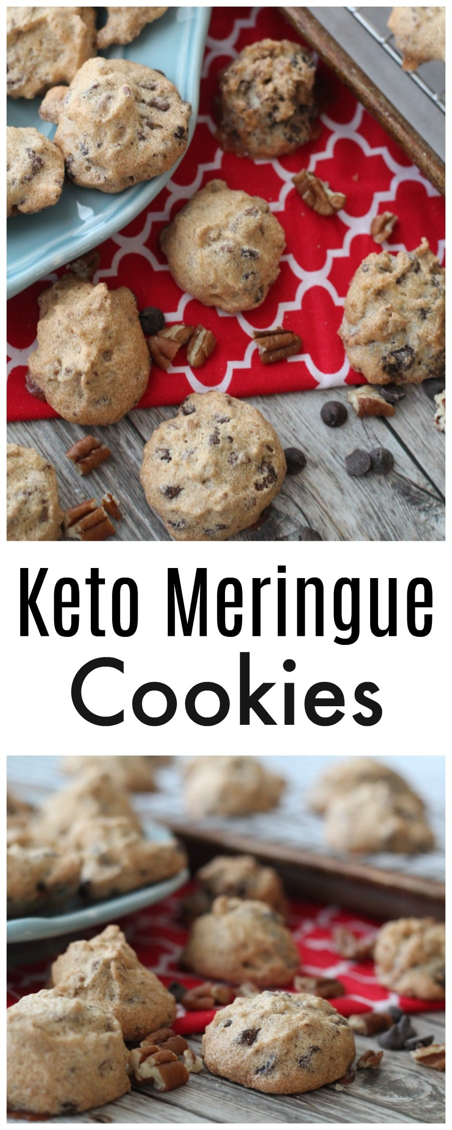 If you've been searching for a KetoSugar-Free Meringue Cookie, this is the recipe for you with pecans and chocolate chips!