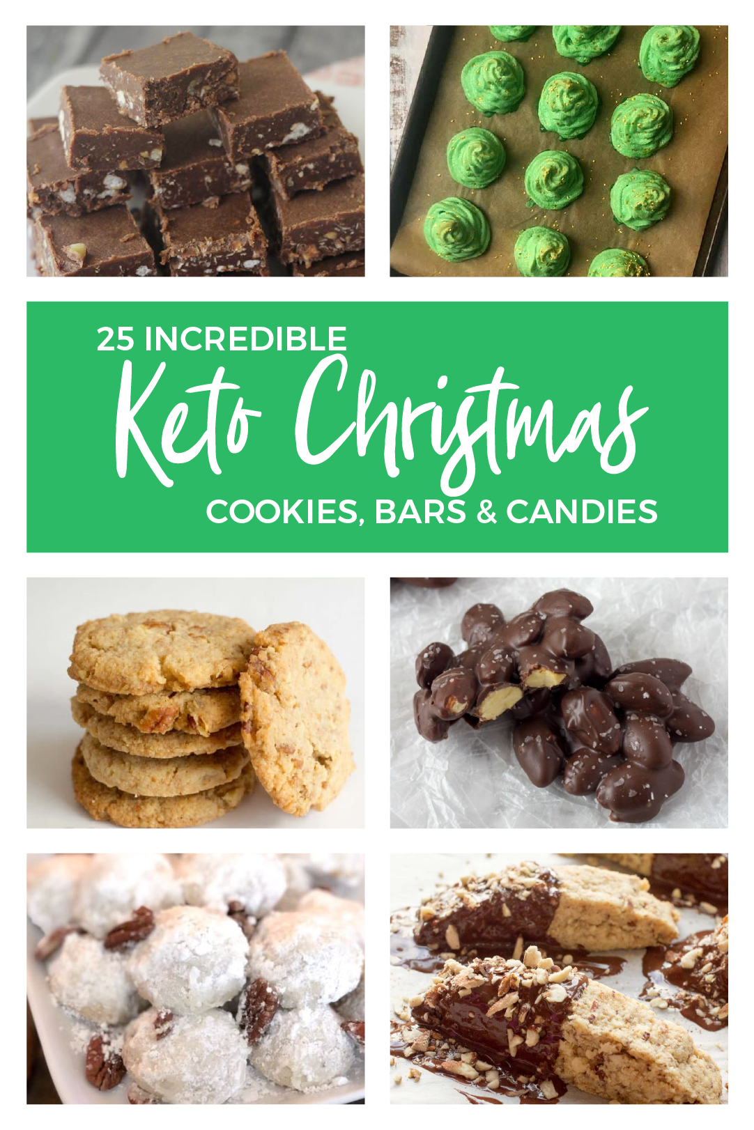 Check out this fantastic roundup of Keto Christmas Cookies, Bars and Candy recipes! You'll find a wide variety of Keto dessert recipes that will remind you of regular Christmas treats without all the carbs. #keto #lowcarb