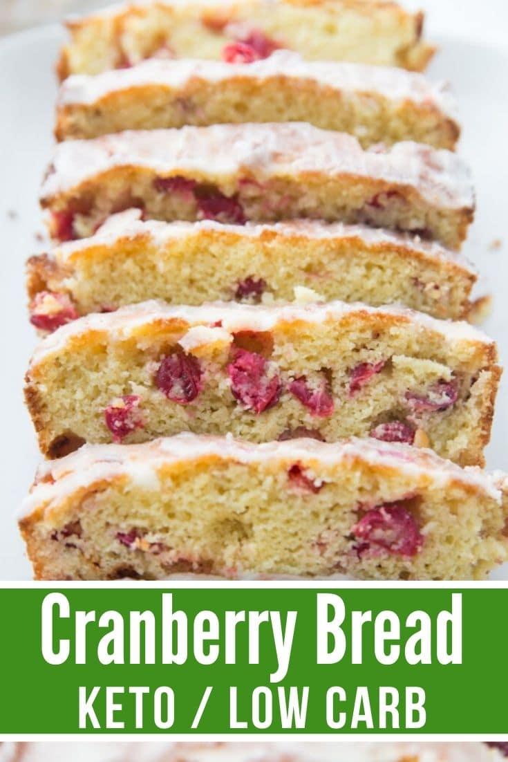 keto cranberry bread sliced