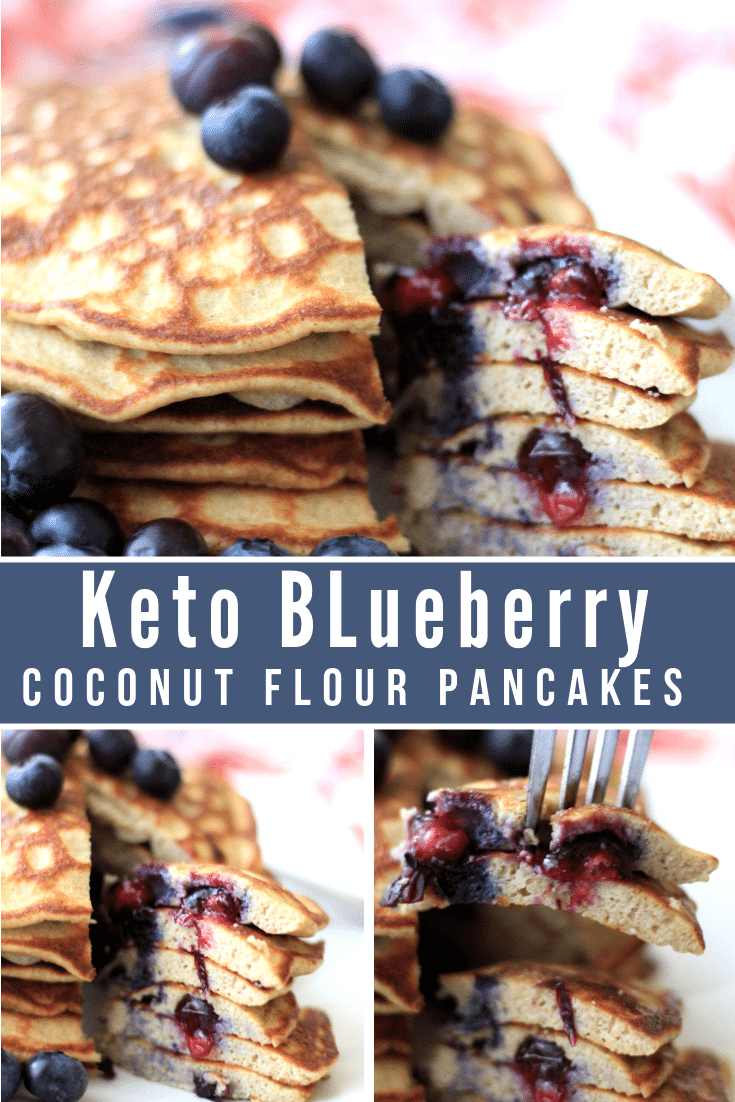 The very best Keto Blueberry Coconut Flour Pancakes are light, fluffy, and delicious! You'll love having this option as a change of pace and if you are already following a keto or low carb lifestyle then you most likely already have all the ingredients in your pantry. #keto #lowcarb