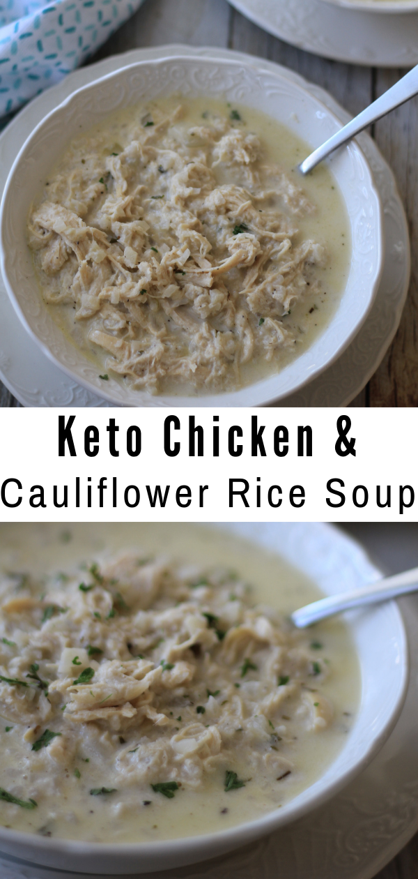 ThisKeto Chicken and Cauliflower Rice Soup is perfect for cold days or just when you're looking for a hearty and delicious meal. #keto #lowcarb