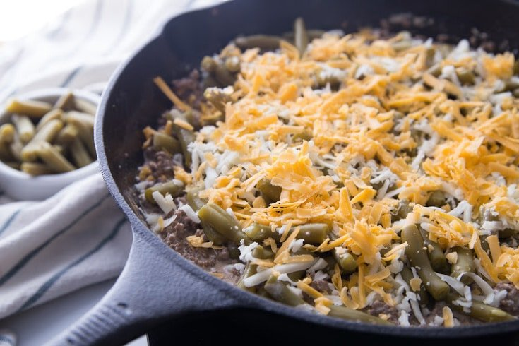 Keto Ground Beef Recipe in a cast iron skillet before putting it in the oven