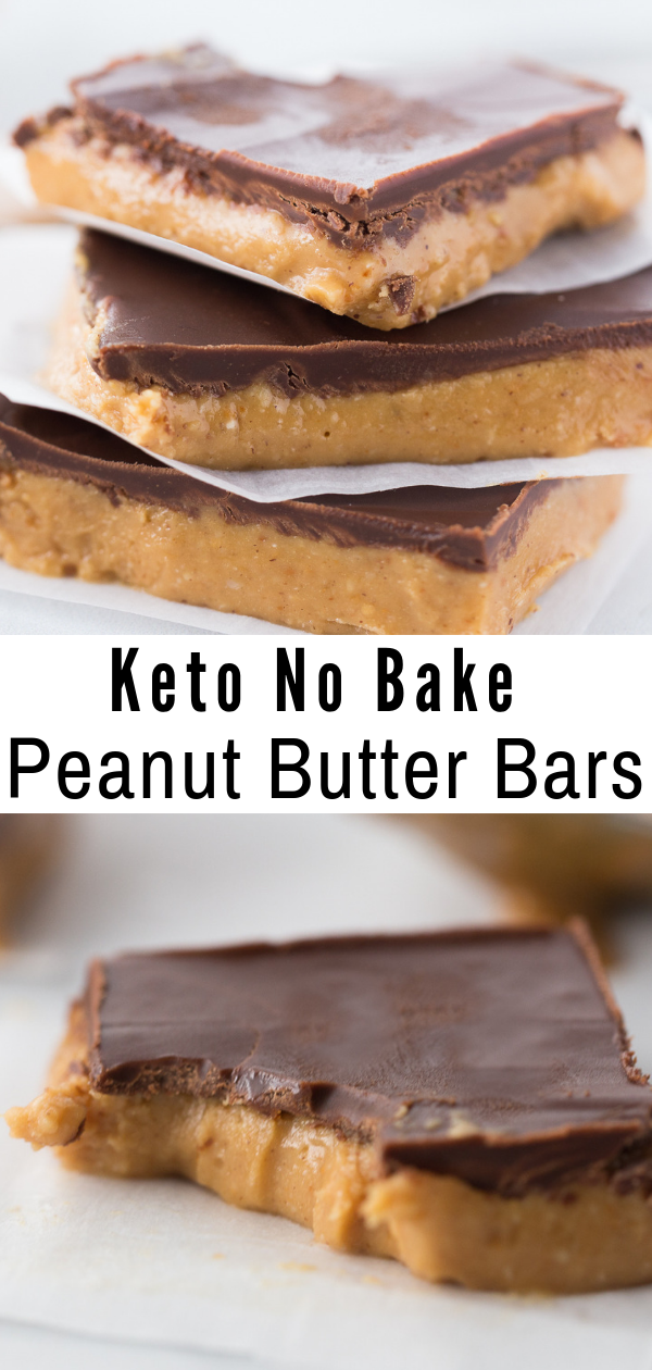 Peanut Butter meets creamy chocolate in these No Bake Keto Peanut Butter Chocolate Bars to create a mouthwatering delicious low carb treat! #keto #lowcarb #ketorecipe