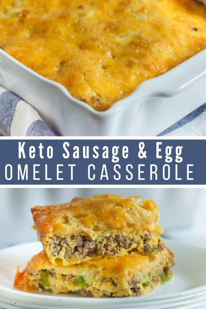 collage of low carb casserole and a piece of the cut keto breakfast casserole on a plate