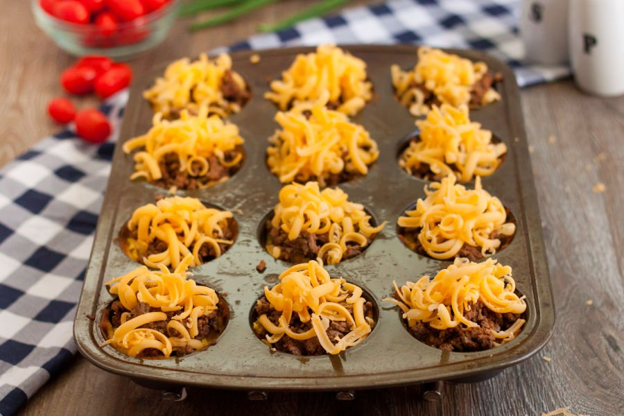 Adding meat and cheese to the low carb taco cups