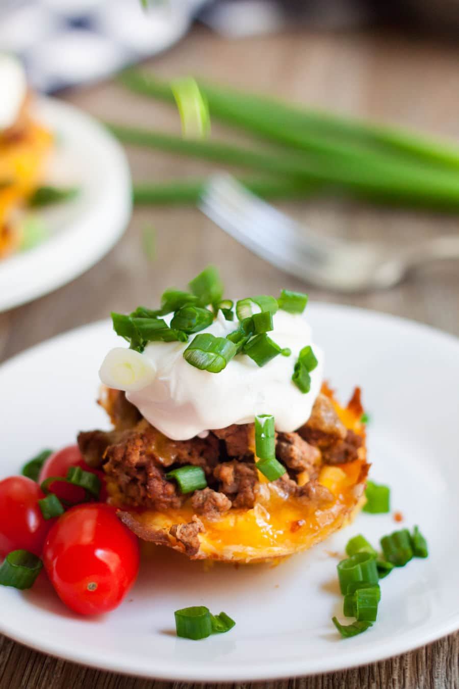 Keto taco cups topped with green onions