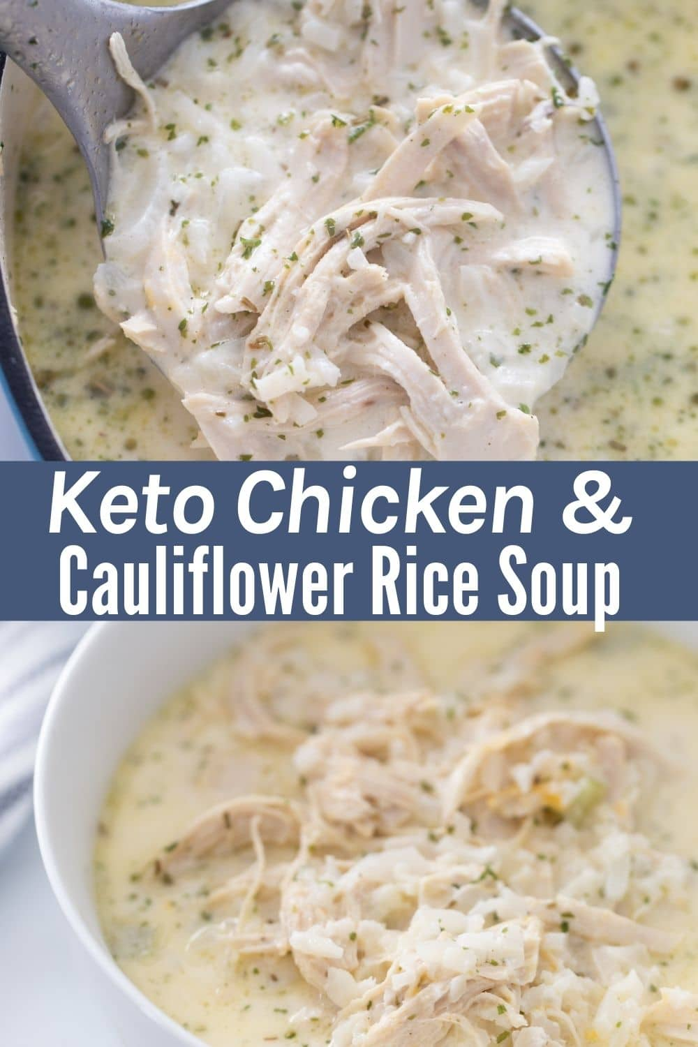 Collage image of keto cauliflower soup with rice